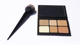 Face brushes highlight makeup royalty free stock photography