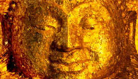 Face of Buddha Image with Gold Foil Royalty Free Stock Photos