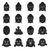Face of Buddha at simple black style on white. Silhouette and face of Buddha at simple black style set Stock Images