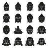 Face of Buddha at simple black style on white. Silhouette and face of Buddha at simple black style set Royalty Free Illustration