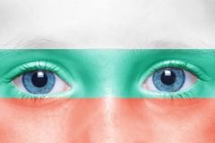 face with bulgarian flag Stock Photos