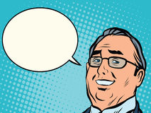Face business boss comic book bubble Royalty Free Stock Photography