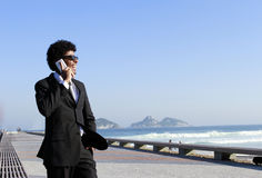 Face of business man talking on cell phone Royalty Free Stock Photo