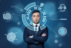 Face of businessman seen through the digital financial diagram with dollar sign. Stock Photo