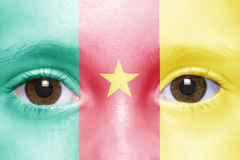 Face with cameroon flag. Human`s face with cameroon flag Stock Photos