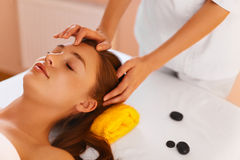 Face care. Skin spa treatment. Woman in beauty salon. Stock Images