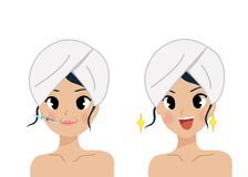 Face Care and Treatment compare botox woman vector illustration
