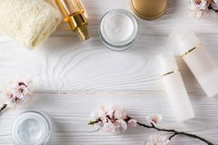 Face care treatment cosmetics overhead flat lay stock photo
