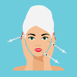 Face Care and Treatment Flat Vector Illustration. Mesotherapy and Injections Royalty Free Stock Images