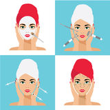 Face Care and Treatment Flat Vector Illustration. Mesotherapy, Injections, Mask, Massage Lines. Face Care and Treatment Flat Vector Illustration Set Stock Photography