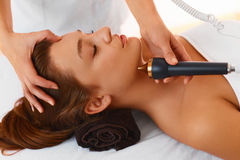 Face care. Ultrasound cavitation face treatment in medical spa c Royalty Free Stock Photo