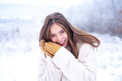 Face care in winter. Healthy face of a beautiful woman. Moisturizing. Face care and moisturizing in cold period. royalty free stock photos