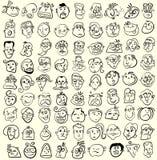 Face caricature  cartoon collection. Doodle emotion design Stock Photos