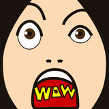 Face cartoon expression wow Stock Photo