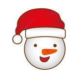 Face cartoon snowman christmas design. Illustration Royalty Free Stock Photo