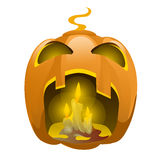 Face carved from pumpkin and burning candles. Scary face carved from pumpkin and burning candles, festive character for Halloween Stock Photos