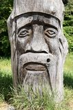 Face carved in wood Royalty Free Stock Photos
