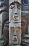 Face carved in wood. sculpture made of wood. Wooden Tree Sculptu. Re. Handmade in Poland Royalty Free Stock Photo