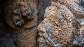 Face carving in stone Sculpture at Borobudur Stock Photos