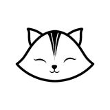 Face cat clossed eyes feline outline Stock Photos