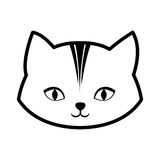 face cat feline curious small outline Stock Images