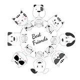 Face cats and dogs best friends have lunch together white background. stock illustration