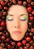 Face cercada pela fruta Foto de Stock Royalty Free