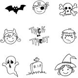 Face character halloween doodle Stock Images