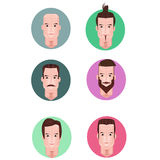 Face character male  cartoon vector set Royalty Free Stock Photography