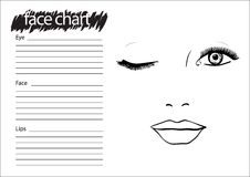 Face chart Makeup Artist Blank. Royalty Free Stock Photo