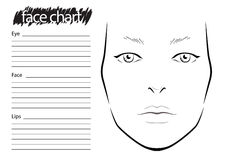 Face chart Makeup Artist Blank. Royalty Free Stock Photography