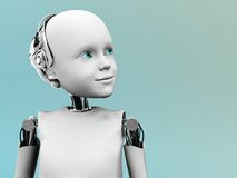 The face of a child robot. A robot child gazing into the future Stock Image
