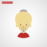 Face of chinese old man. Vector avatar. Royalty Free Stock Photography