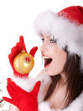 Face of christmas girl in santa hat. Stock Photography