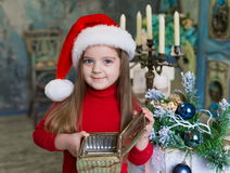 Face, Christmas hat, red suit Royalty Free Stock Images