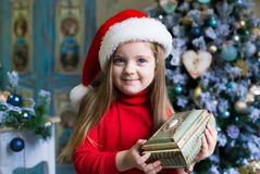 Face, Christmas hat, red suit Royalty Free Stock Image