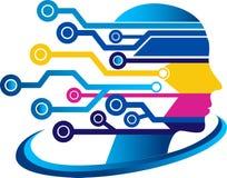 Face circuit logo Royalty Free Stock Image