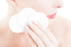 Face cleaning discs concept Royalty Free Stock Images