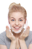 Face cleaning Stock Photography