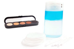 Face cleaning tools and eyeshadows Royalty Free Stock Image