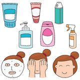 Face cleanser. Vector set of face cleanser Royalty Free Stock Photos