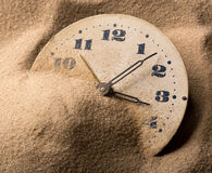 Face of clock in sand Royalty Free Stock Photos