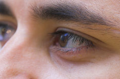 Face close-up. Young man close-up. Tired eyes Stock Photography