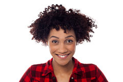 Face closeup of curly haired afro american model Stock Photo