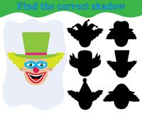 Face of clown, find the correct shadow. Kid's game. Face of clown, find the correct shadow. Kid's game. Education Stock Photo