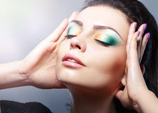 Face with colorful make-up Stock Photography