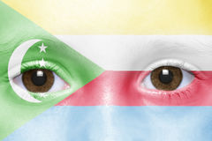 Face with comoros flag. Human`s face with comoros flag Royalty Free Stock Image