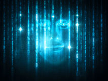 Face in computer code Royalty Free Stock Photography
