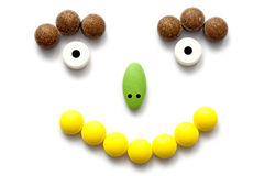 Face concept colorful pills Royalty Free Stock Photography