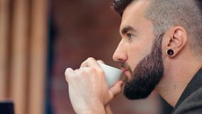 Face of confident fashion bearded guy with trendy hairstyle drinking coffee from white cup close-up. Handsome young man relaxing enjoying hot beverage having stock video footage